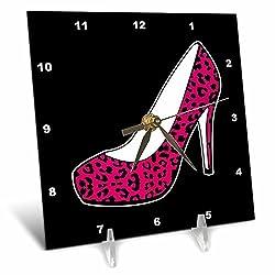 3dRose dc_57138_1 I Love Shoes Pink Cheetah High Heel Shoe on Black Desk Clock, 6 by 6-Inch
