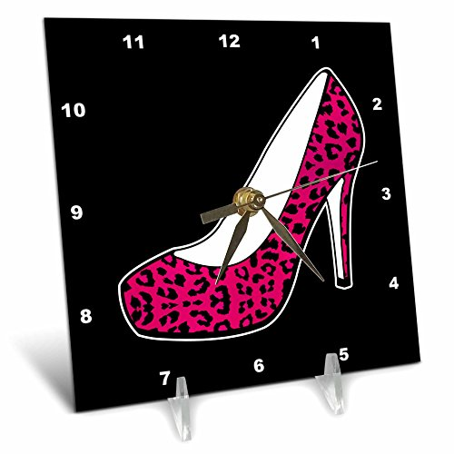 3dRose dc_57138_1 I Love Shoes Pink Cheetah High Heel Shoe on Black Desk Clock, 6 by 6-Inch