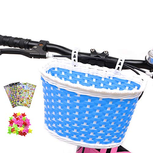 ANZOME Girl's Bike Basket, Front Handlebar Kid's Bicycle Basket with Bike Bells Streamers for Kids Chirlden Gift DIY Sets - Rose red ...