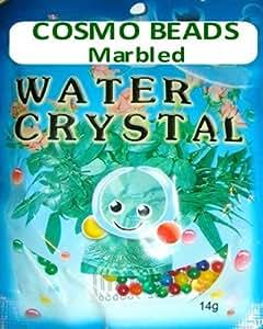 Verde oscuro mármol vena Cosmo beads-crystal suelo (14grams)–absolutamente impresionante.