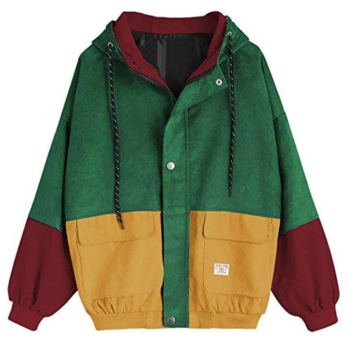 Leedford Women Corduroy Coat, Hoodie Long Sleeve Patchwork Oversize Jacket Windbreaker Overcoat With Zipper Pockets (S, Wine Red) ()