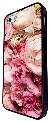 355 - Shabby Chic Real Roses Design iphone SE - 2016 Coque Fashion Trend Case Coque Protection Cover plastique et métal - Noir