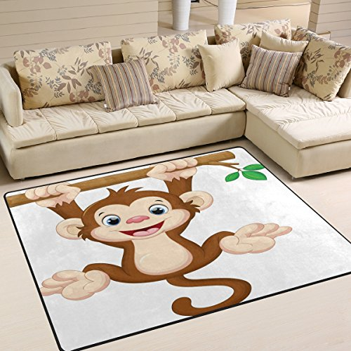 ALAZA Hipster Cartoon Monkey Hanging Tree Area Rug Rugs for Living Room Bedroom 5'3