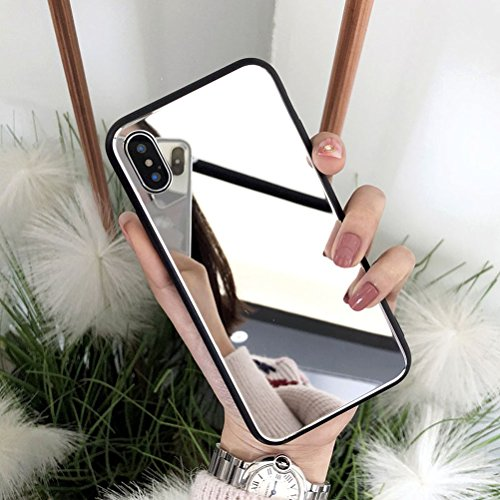 iPhone X Case, iPhone 10 Case, Ebetterr Tempered Glass Hard Protective Cover,Bright Reflection Luxury Mirror Makeup Case with Soft Rubber TPU Bumper for Apple iPhone X (2017)