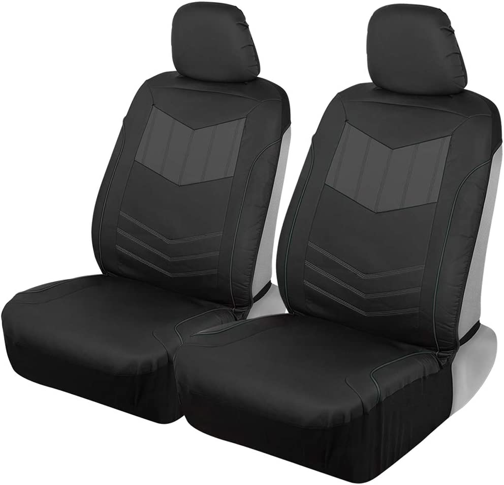 Motor Trend MTSC304 Gray Two-Tone Sport PU Leather Seat Covers for Car Auto (Sedan Truck SUV Minivan) – All Protection Sideless Front 2pc