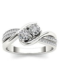 1/2 Carat TDW Round Cut Diamond 14k White Gold Two-Stone Bypass Engagement Ring (H-I, I2)