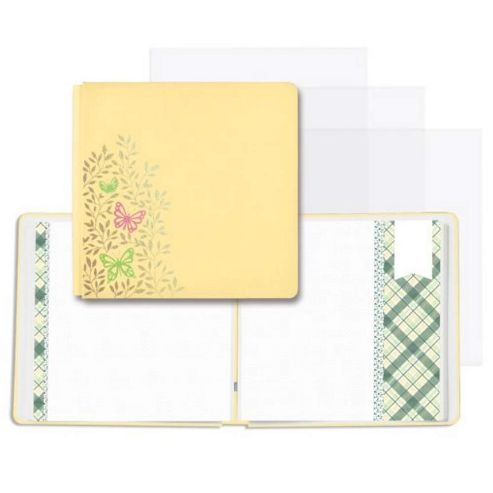 12x12 Soft Yellow Simply Sunshine Butterfly Fast2Fab Album, Decorated Pages & 16/pc Page Protectors by Creative Memories