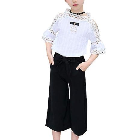 Camiseta y pantalón de manga corta para niñas Traje ahuecado ...