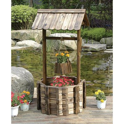 Kotulas Outdoor Wooden Wishing Well Garden Planter with Hanging Flower Bucket, 45 -