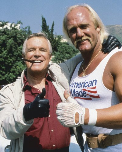 George Peppard And Hulk Hogan In The A Team Thumbs Up Together 16x20 Poster