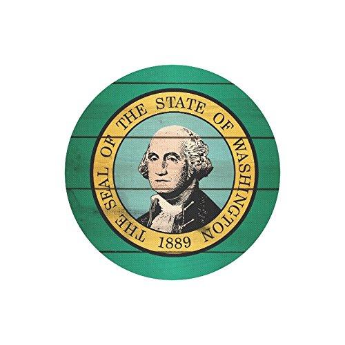 Washington State Flag Durable Cloth Cover Round Mousepad Mat 7.87''x7.87''