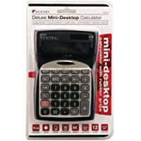 Sentry Mini Desktop Calculator with Clock, Silver (CA275)