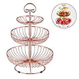 3 Tier Metal Wire Fruit Vegetable Basket Tower Decorative Fruit Basket Countertop Stand Kitchen Counter Produce Organizer with Top Handle (Rose Gold)