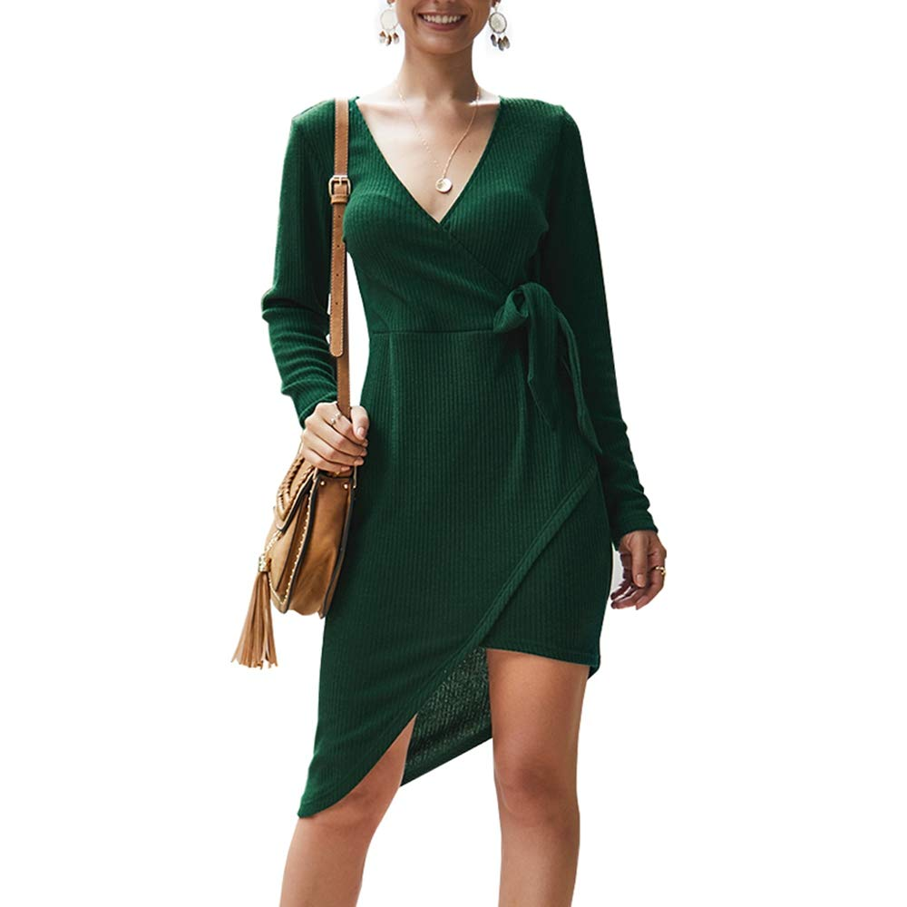 Women's Casual Wrap Mini Dress,Long Sleeve Bodycon Deep V Neck Side Tie High Low Party Dresses,Fashion Style for Ladies Green by KINGLEN Womens Dress