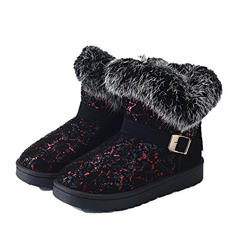 AgooLar Women's PU Low-Heels Round-Toe Assorted Colors Pull-On Boots Red IzR8o6g