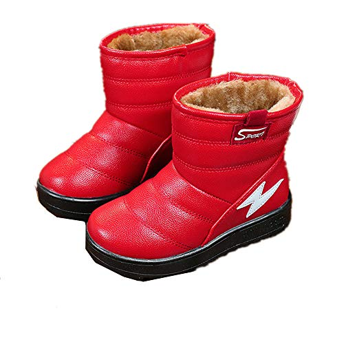 Boy & Girls Snow Boots Winter Outdoor Waterproof Fur Lined (Toddlers/Kids)(Red EU 32/1 M US Little Kid)