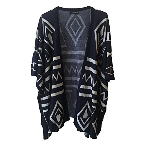 Dixperfect Women's Aztec Open Front Cardigan Sweater Shawl with Batwing Sleeve (Navy) Cardigan Logo Sweater