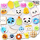 Squishy Toys 20 PCS, Acetek Cute Kawaii Soft Squish Toy Bread Panda Emoji Fruit Animal Stress Relieve Squeeze Soft Lovely Toy Kids Gift Fidget Toy Slow Rising with Key Strap Charms Pendent Decoration