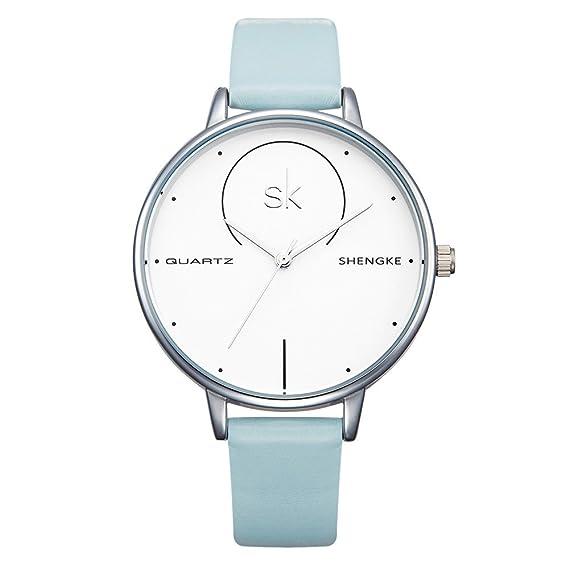 shengke k0040l hembra Reloj analógico para mujer verano Colores claros cuarzo azul Genuine Leather Strap Reloj