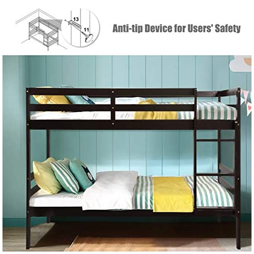 Bedroom Costzon Twin Bunk Bed, Solid Hardwood Twin Over Twin Bed for Kids with Ladder and Safety Rail, Children Wooden Bunk Beds… bunk beds