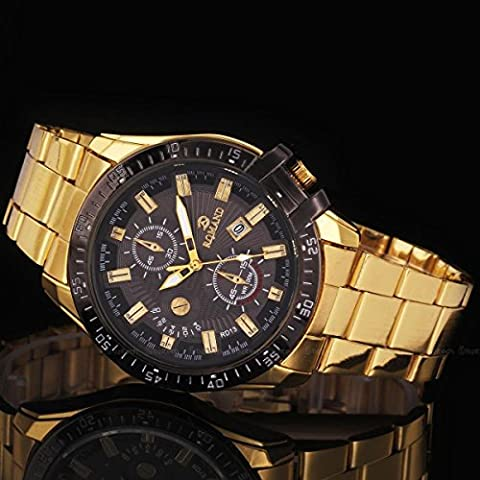 Luxury Mens Black Dial Gold Stainless Steel Date Quartz Analog Sport Wrist Watch, Fashion Lovely And High Quality Sports Watch! Movement (Hublot Watch Green)