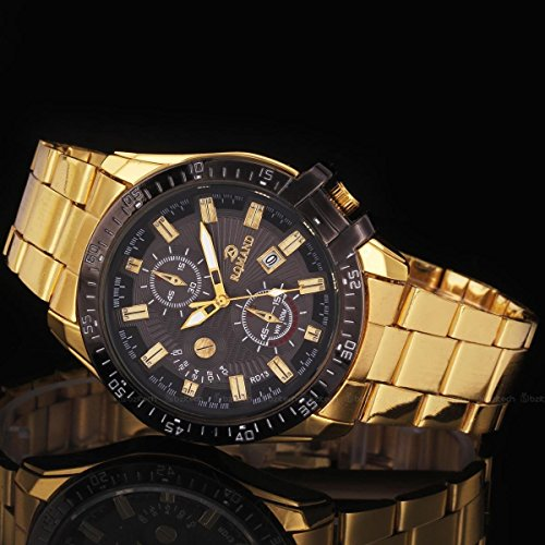 Luxury Mens Black Dial Gold Stainless Steel Date Quartz Analog Sport Wrist Watch, Fashion Lovely And High Quality Sports Watch! Movement Quartz (Spy Omega Lens compare prices)