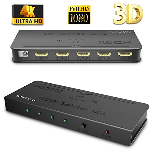 [Upgrade Version] HDMI Splitter SOWTECH 1X4 Ports Powered Video Converter with Full Ultra HD 1080P 4K/2K, 3D Resolutions and HDCP (1 Input to 4 Outputs) - - One Hd