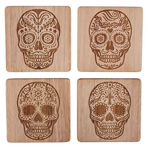 (Skull Head Skull Home Decor Sugar Skull Coasters Sugar Skull Decor Sugar Skull Drink Coasters Skull Decorations Skull Coaster Set of 4, Day of the Dead Decorations)