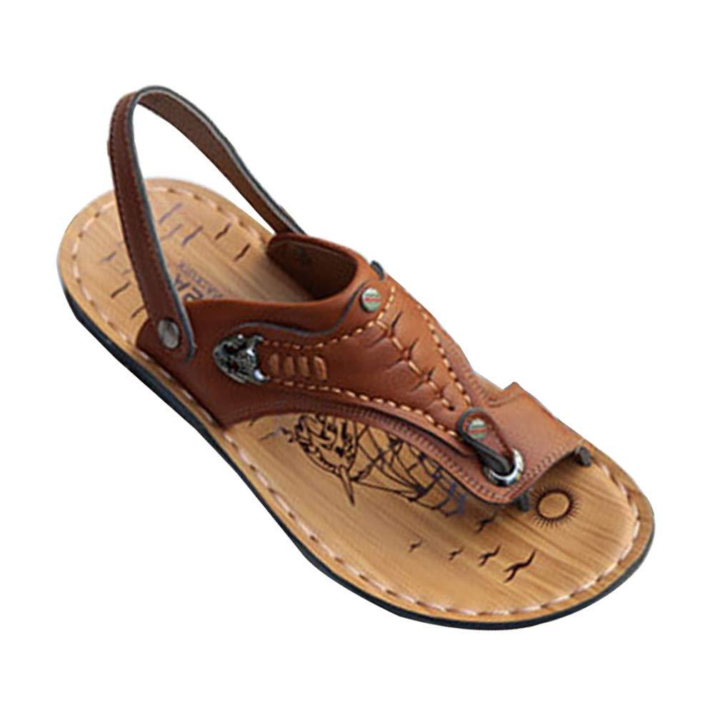 Yudesun Outdoor Trekking Sandali - Infradito Camminare Cuoio Uomini Estate Pantofole Pescatori Piatto Casual Vacanza Comfort Scarpe Slipperclsh07yds