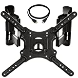 "InstallerParts Corner TV Wall Mount for most 23""-55"" LED LCD Plasma Flat Screen Monitor up to 132 lb VESA 400x400 with Full Motion Swivel Articulating Dual Arm, HDMI Cable"