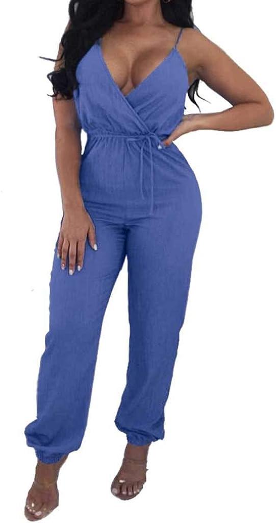 WELCOMEUNI Womens Solid Deep V-Neck Lace Up Braces Jean Jumpsuit Wide Leg Romper