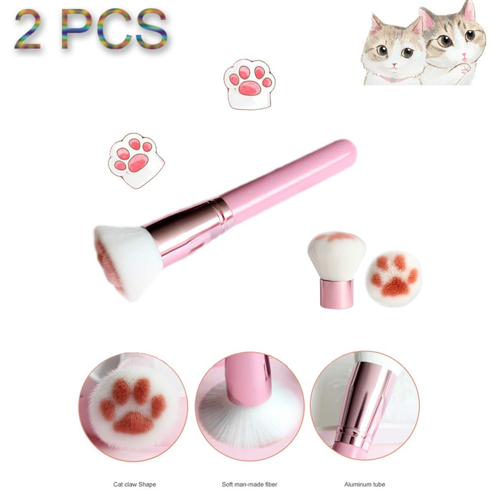 Dymals Cute Cat Paw Kabuki Brush Makeup Brushes, 2 Pcs Professional Cosmetic Pink Makeup Brushes Particular Foundation Brush Powder Brushes Blush Brush Concealer Brush Contour Brush Cosmetic Brush Set