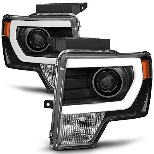- For [HALOGEN UPGRADE] 09-14 Ford F-150 F150 Light Duty Pickup Black Bazel C-Shape LED light Tube Projector Headlights