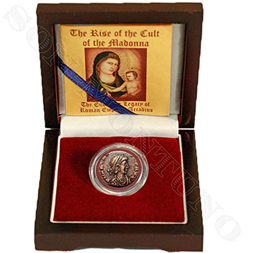 - 395-408AD - RISE OF THE CULT OF MADONNA - Ancient Roman Arcadius Antique Bronze Coin in Wood Box with Certificate of Authenticity - HOLY MARY & JESUS