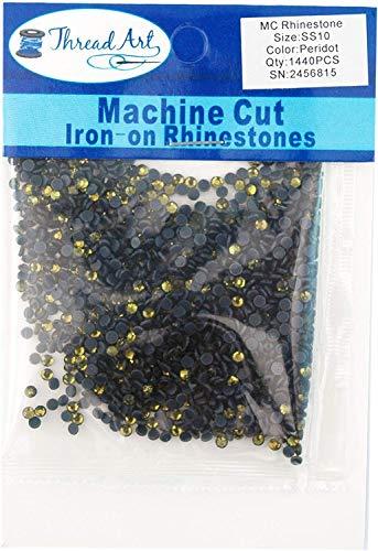 Threadart Machine Cut Hot Fix Rhinestones SS10 (3mm) Peridot 10 Gross (1440 Stones/pkg) Hotfix - 25 Colors and 5