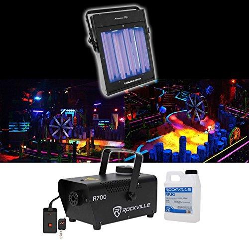 American DJ UV Panel HP 160 Watt Blacklight Wash Light Fixture+Fog Machine+Fluid