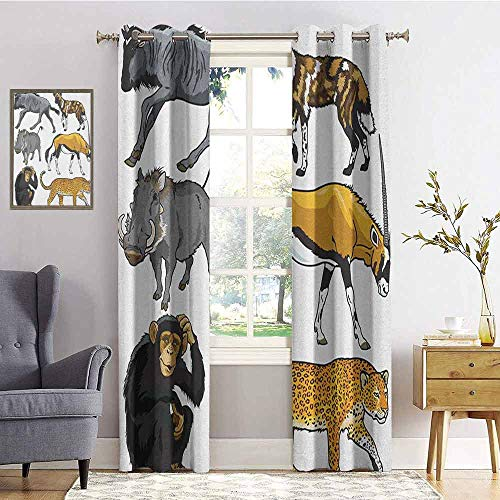 hengshu Zoo Wear-Resistant Color Curtain Collection of Cartoon Style Wild Animals of Africa Fauna Habitat Savannah Wilderness 2 Panel Sets W84 x L96 Inch Multicolor