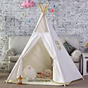 DalosDream 5 Poles Gaint Kids Teepee Tent -100% Natural Canvas Children Play Tent-Lace