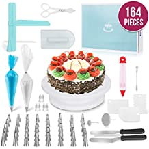 Ultimate Cake Decorating Supplies 164 Pcs by MERRI | Baking Supplies Kit | Rotating -Turntable Stand, Frosting & Piping Bags and Tips Set, Icing Spatula and Smoother, Pastry Tools