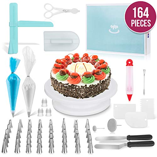 Ultimate Cake Decorating Supplies 164 Pcs by MERRI | Baking Supplies Kit | Rotating -Turntable Stand, Frosting & Piping Bags and Tips Set, Icing Spatula and Smoother, Pastry Tools ()