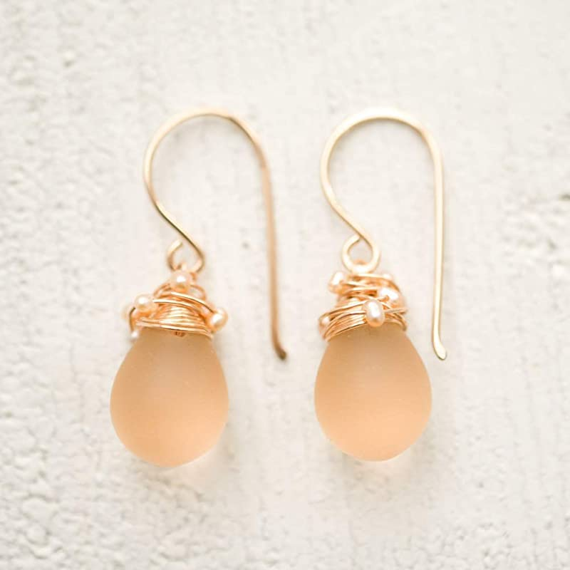Tiny Iridescent Glass Earrings 14//20 Rose Gold-filled