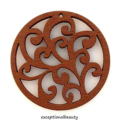 2 Brown Wood 38mm Wooden Bead Drop Components Filigree Vines Cutout Carved