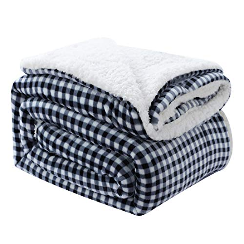 (uxcell Thick Reversible Fleece Blanket Twin Size,Microfiber Soft Plush Flannel Berber Blanket,Warm Comforter for Bed and Couch,59