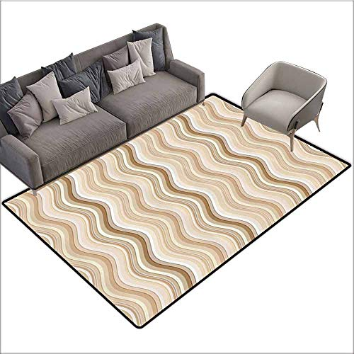 (Outdoor Floor Mats Tan,Wavy Curvy Lines Flowing in Vertical Direction Swirl Energy Motion Inspired,Light Brown Tan White 48