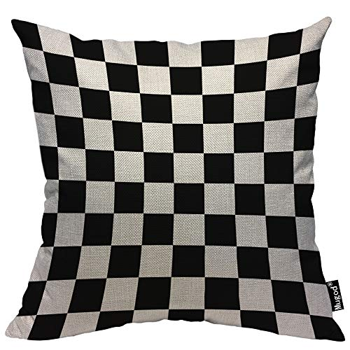 Checkered Pillow (Mugod Checkerboard Decorative Throw Pillow Cover Case Geometric Checkered Plaid Pattern Black and White Cotton Linen Pillow Cases Square Standard Cushion Covers for Couch Sofa Bed 18x18 Inch)