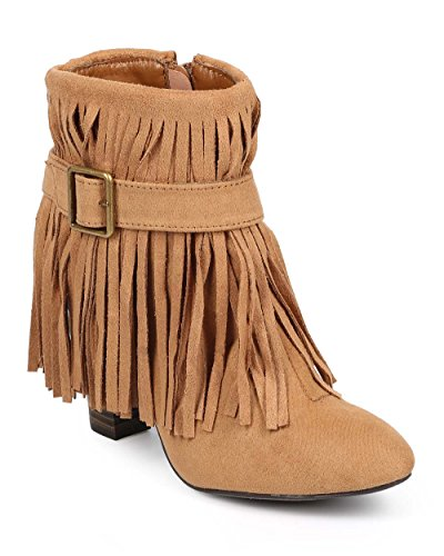 Qupid Women Suede Almond Toe Belted Fringe Ankle Bootie DB41 - Camel (Size: ()