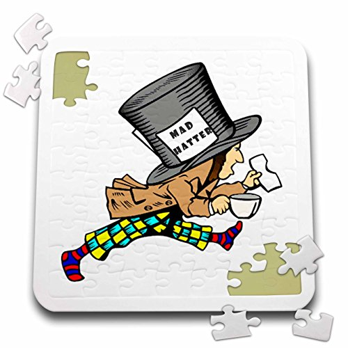 Florene Nursery Rhymes And Fairytales - Image of Colorful Mad Hatter Cartoon Figure - 10x10 Inch Puzzle (pzl_243595_2)