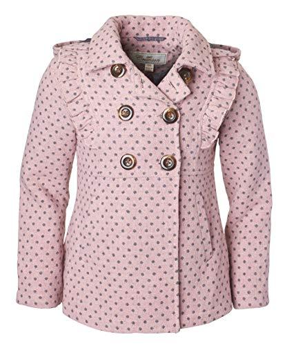 Hooded Girls Coat (Cremson Girls' Wool Blend Hooded Ruffle Winter Dress Pea Coat Jacket - Blush Dots (Size 5/6))