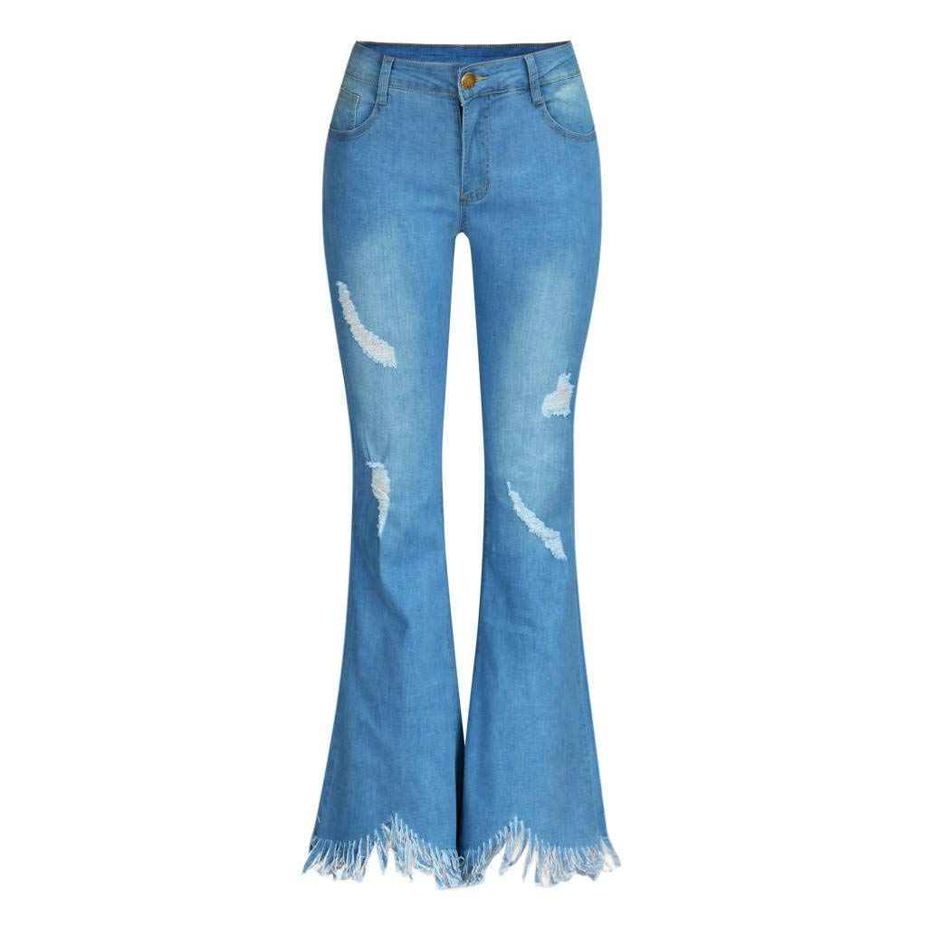 Plus Size Womens Juniors Skinny Bell Bottom Jeans Teen Girls High Waist Ripped Distroyed Frayed Tassel Denim Pants (Blue, M) by miqiqism