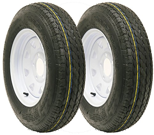 2 New Trailer tire wheel assembly ST175/80D13 8PR on 13'' 5 lug white spoke wheel-15011 by Free Country